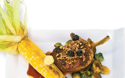 corn and pork on plate
