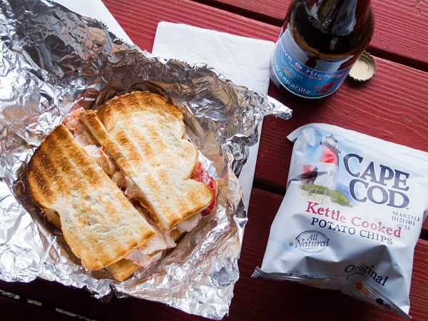 Alive & Kicking lobster sandwich and Cape Cod potato chips