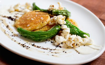 Pickled Verrill Farm Corn Pancakes with Shishito Peppers and Popcorn. Photo provided.