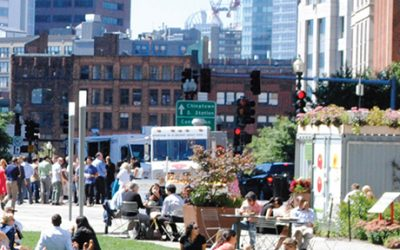 Food trucks on the Rose Kennedy Greenway.