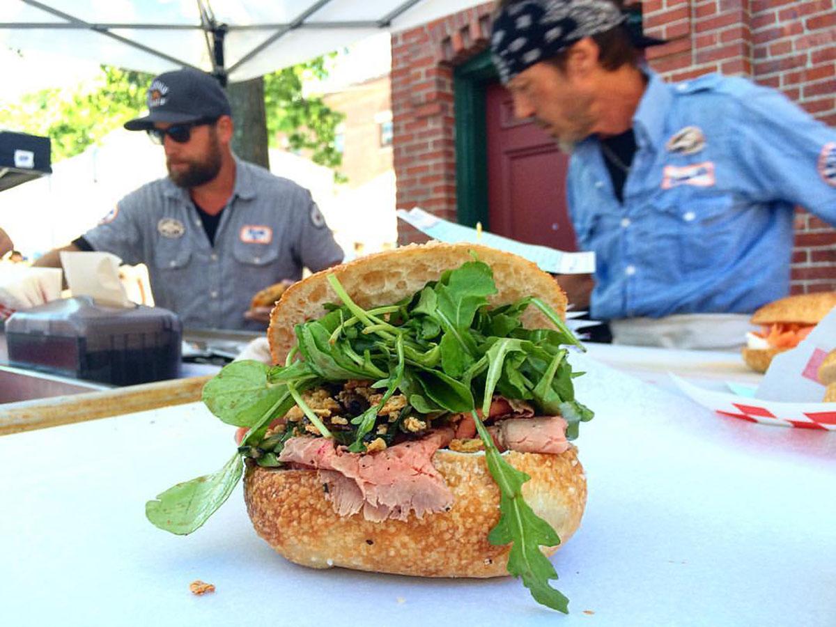 Exodus Bagels roast beef sandwich at Egleston Farmers Market