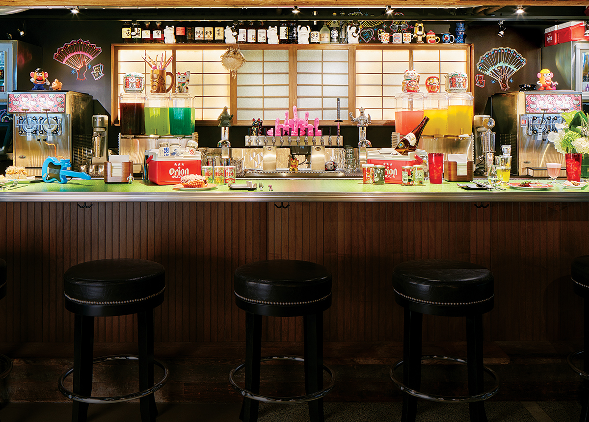 "The bar at Hojoko. / Photo by Jared Kuzia for ""At Hojoko, It's East Meets West Meets East Again."""