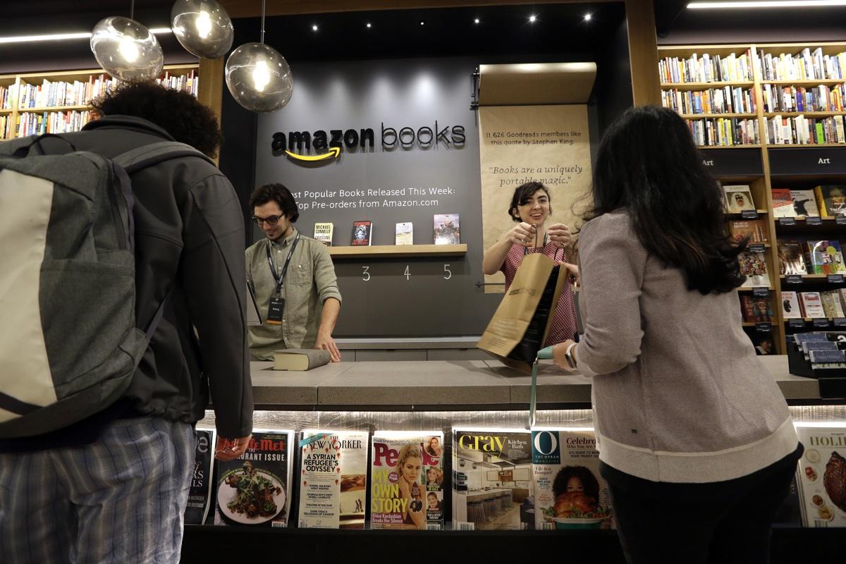 Amazon's Seattle bookstore. Photo via AP