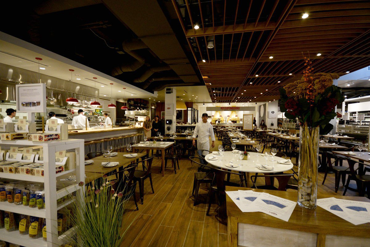 The dining are at La Pizza and La Pasta at Eataly Boston