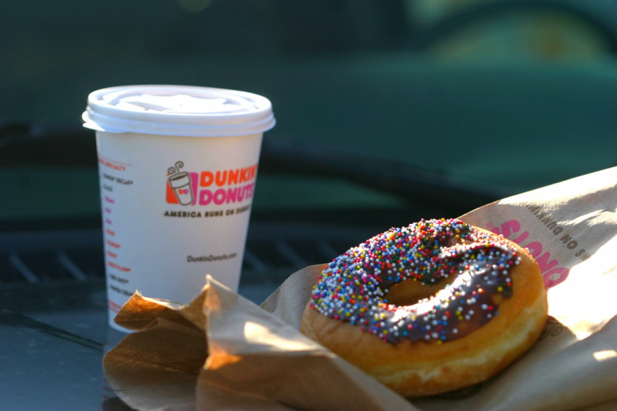 dunkin' donuts coffee and doughnut
