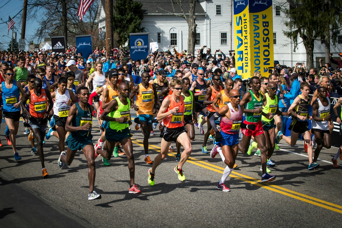 Beginning Of The Boston Marathon Photo By Michael Lutch
