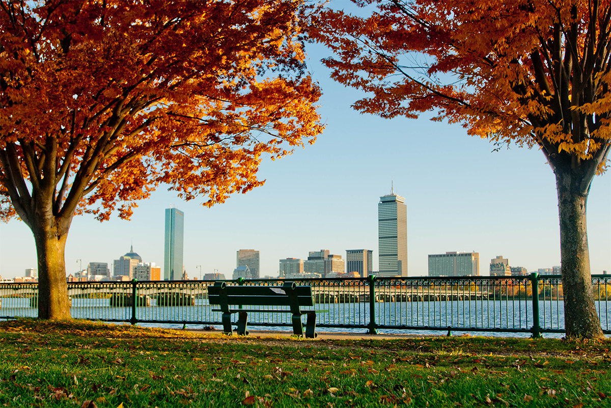 Autumn Boston Skyline viewed from across the river