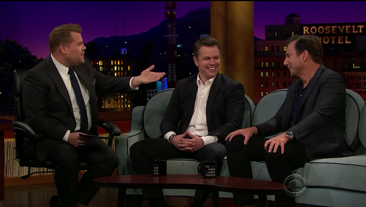 Matt Damon and Will Arnett on the Late Late Show with James Corden