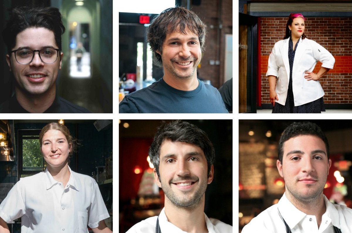 2017 James Beard Award nominees clockwise, from top left: 1) Juan Pedrosa of Yvonne's / photo Provided 2) Ken Oringer of Uni / Photo provided 3) Karen Akunowicz of Myers + Chang / Photo by Andrew Eccles / Bravo 4) Michael Lombardi and 5) Kevin O'Donnell of SRV / Photos Provided 6) Cassie Piuma of Sarma / Photo by Toan Trinh for Best of Boston 2014