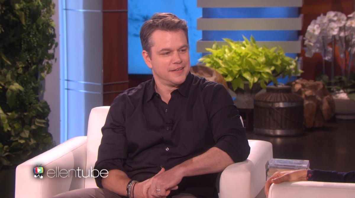 Matt Damon on Ellen. Image from YouTube.