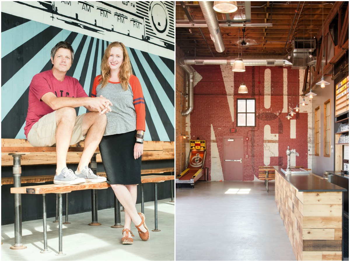"CHRIS LOHRING AND MARY ELLEN LEAHY INSIDE NOTCH'S TAPROOM. / PHOTOGRAPH BY TOAN TRINH for ""Moving Up a Notch"" / Where the main taproom and expansion share a wall / Photograph by Tamara Flanagan provided"