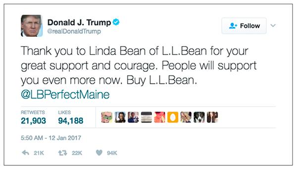 ll bean donald trump tweet