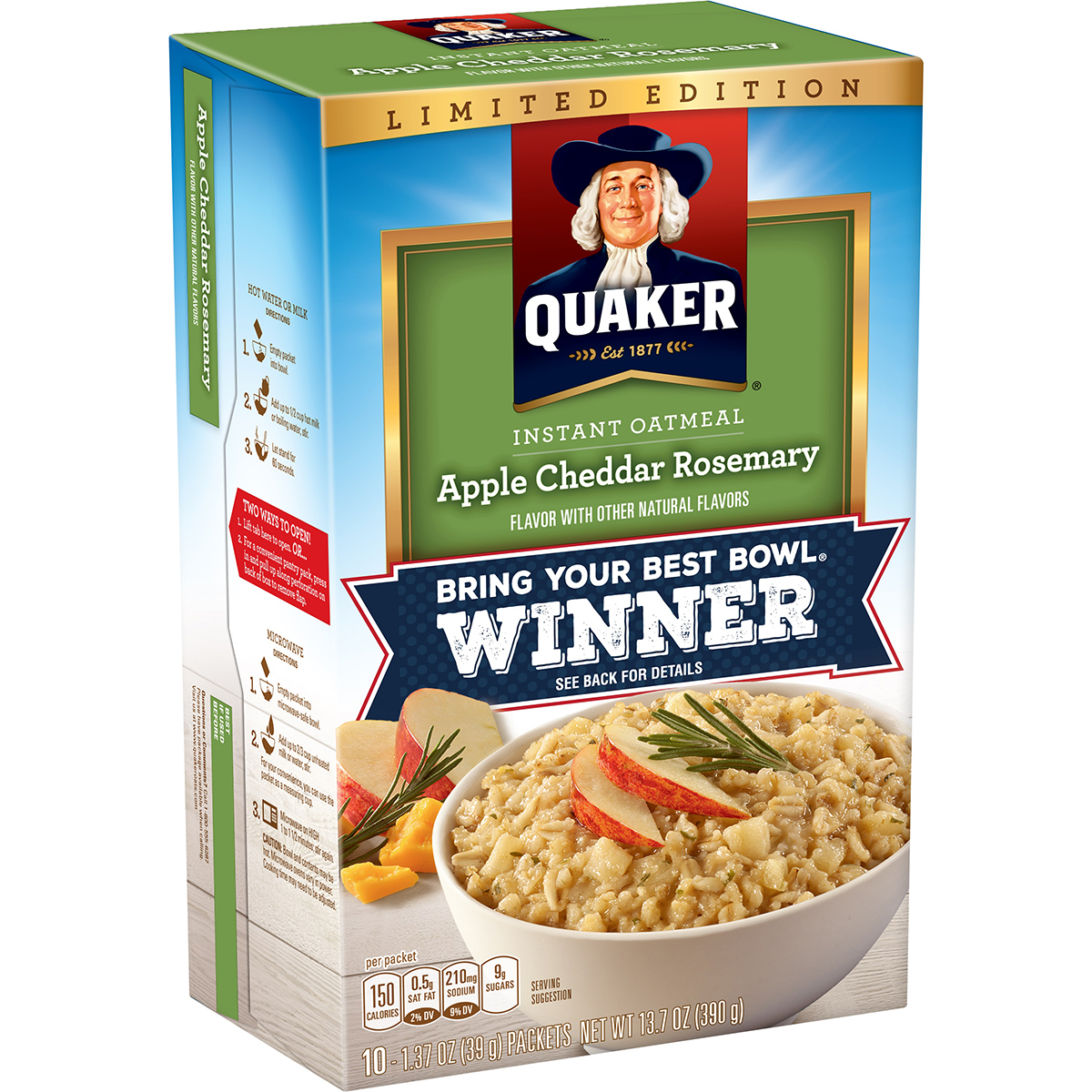 Apple cheddar rosemary oatmeal from Quaker