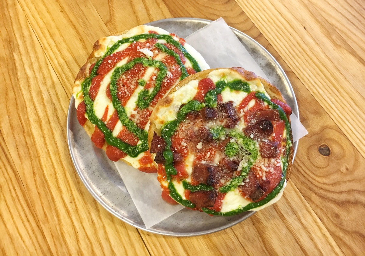 Fancy 'roni pizza bagels at Bagelsaurus. / Photo provided