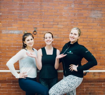 L to R) Special guest host and popular blogger, Sarah Dussault; Boston magazine Health Editor, Jamie Ducharme; Owner of Xtend Barre Newbury, Amanda Cort / Photo by Kathryn Riley