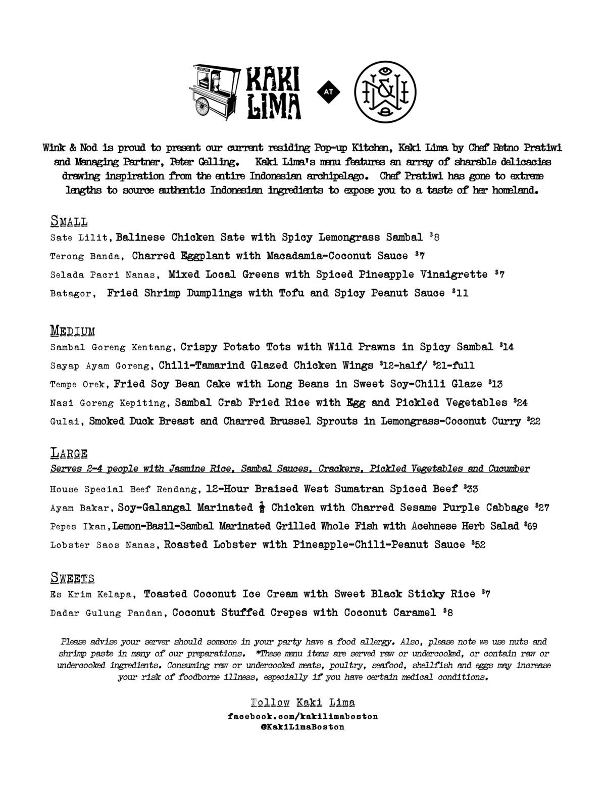 The menu for Kaki Lima at Wink & Nod