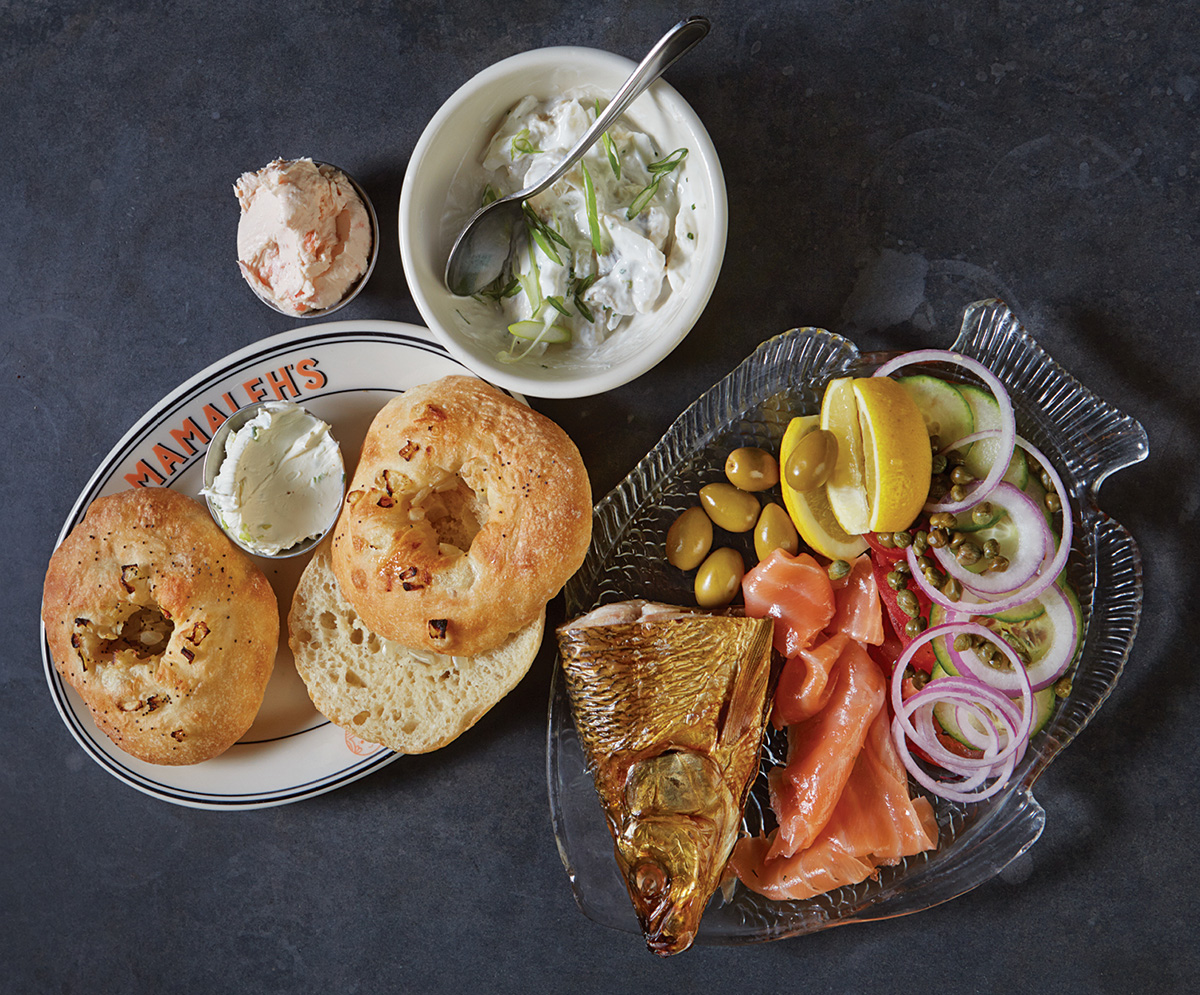 SMOKED WHITEFISH AND LOX WITH HOUSE-BAKED BIALYS at Mamaleh's