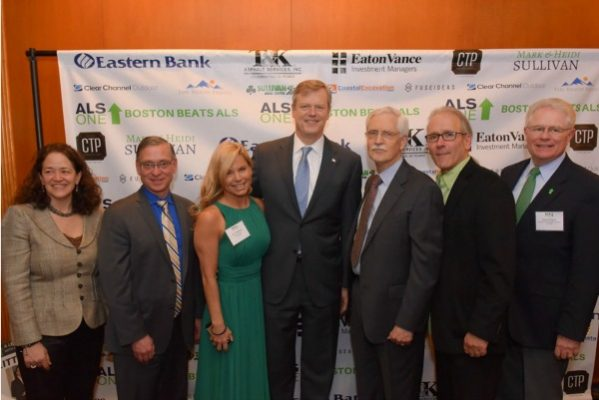 Dr. Merit Cudkowicz, Dr. Stephen Perrin, Jennifer DiMartino, Governor Charlie Baker, Dr. Robert Brown, Ron Hoffman, and Matt Hogan / Photo by David West of Born Imagery