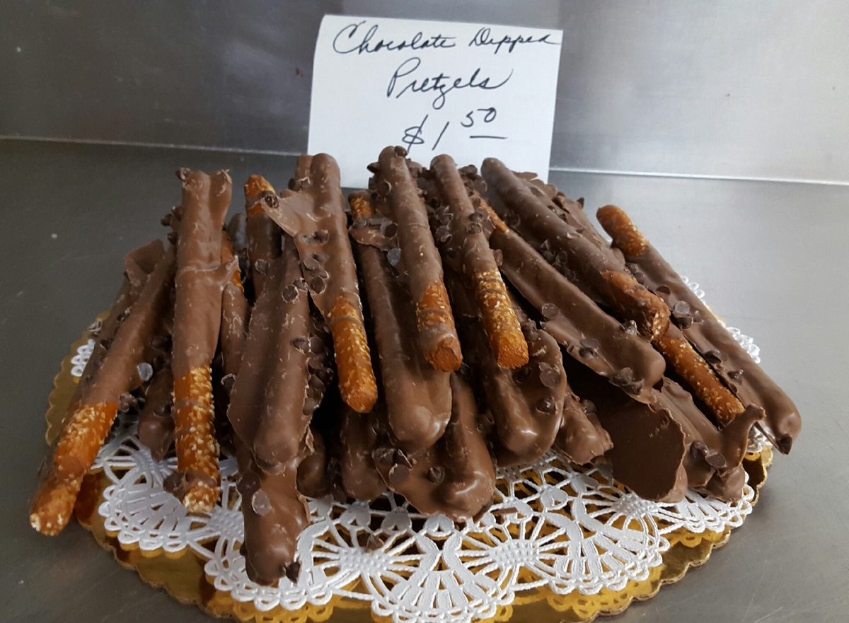 Chocolate-dipped pretzel rods at Bova's Bakery