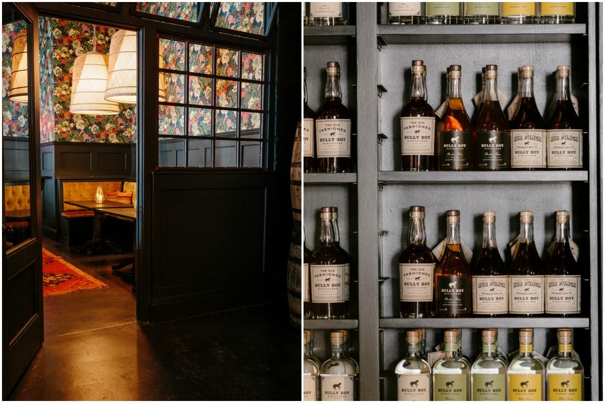 The entrance to the Bully Boy Tasting Room / Bottles of Bully Boy spirits