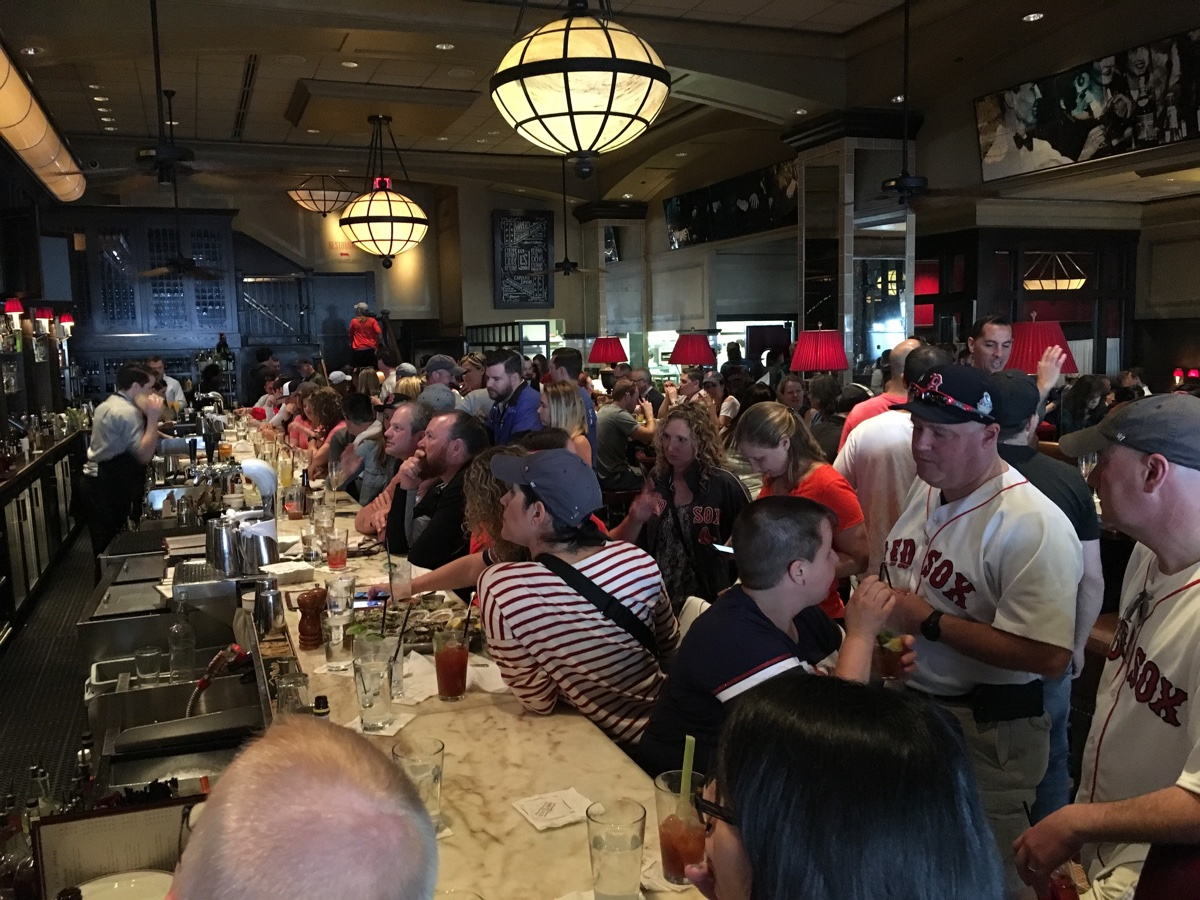 The crowd at the bar at Eastern Standard just after 9 a.m. on Marathon Monday 2017. / Photos by Christy Osler