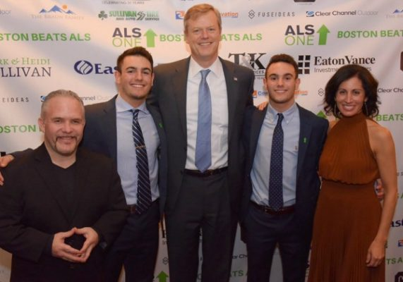 Casey Sherman, Jake Gosnell, Governor Charlie Baker, Joey Gosnell, and Lisa Genova / Photo by David West of Born Imagery