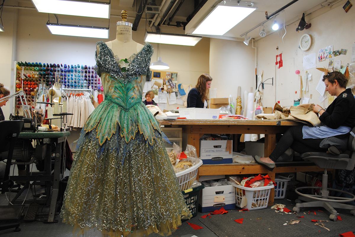 A tutu for a Vision Nymph sits on a dress form in the shop.