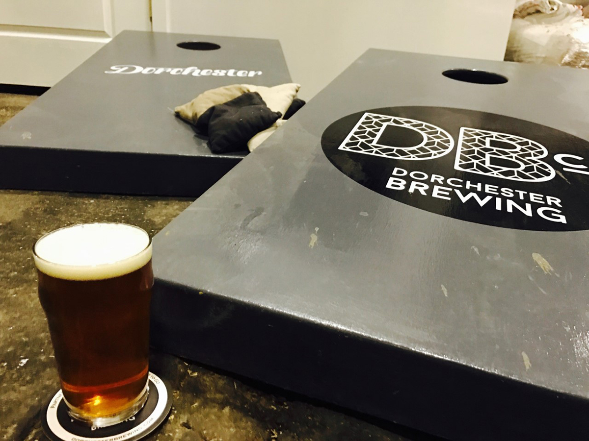 Corn hole at Dorchester Brewing Company