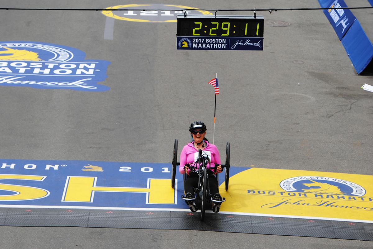 michelle love Boston Marathon 2017 winner womens handcycles