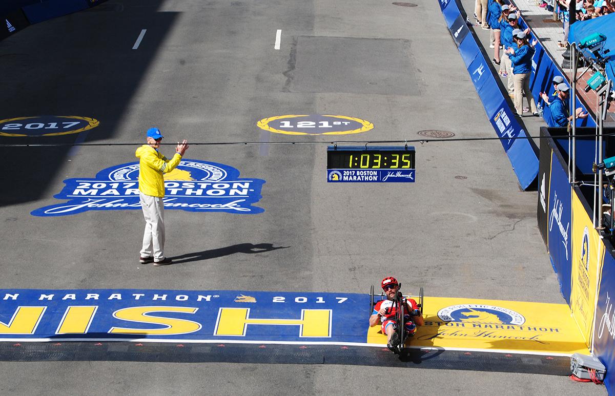 tom david mens handcycles Boston Marathon 2017 winner