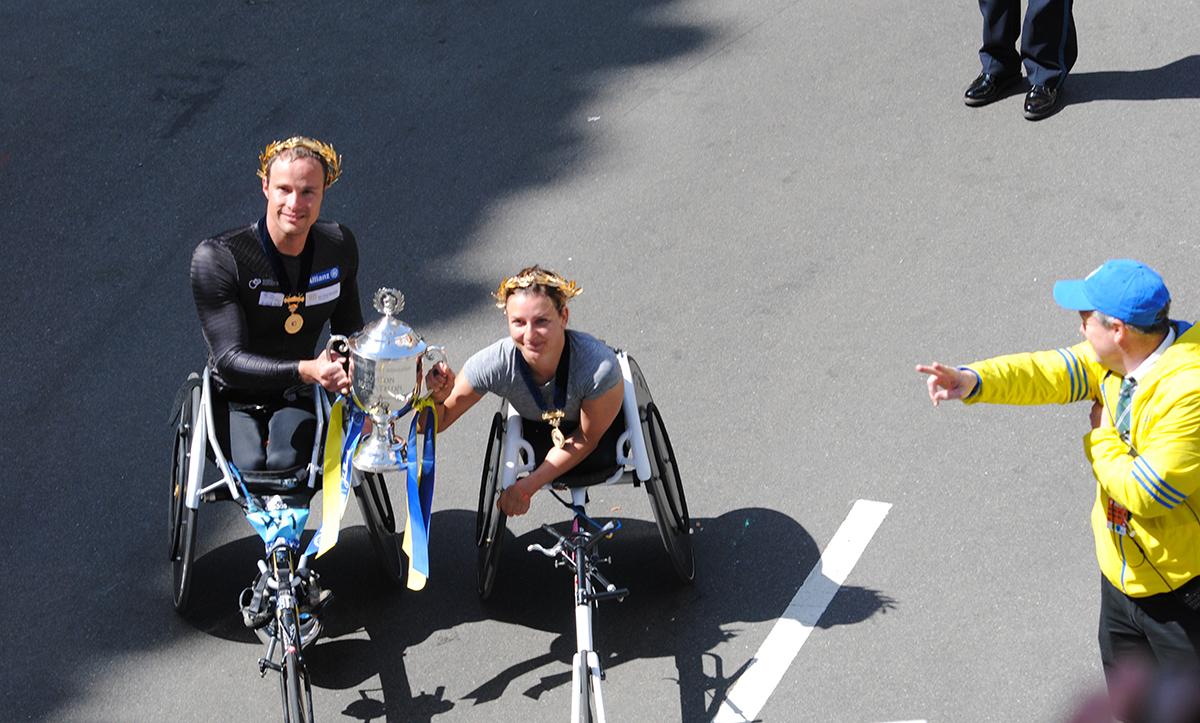 wheelchair elite Boston Marathon 2017 winners