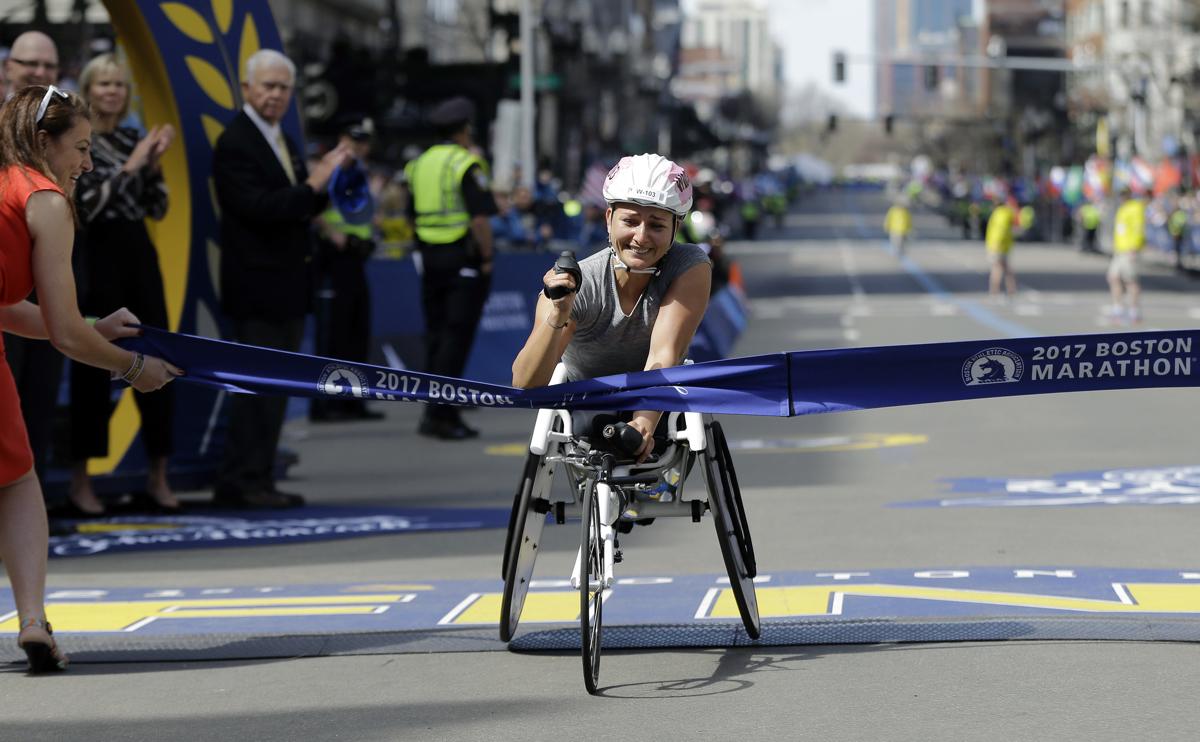 Manuela Schar Boston Marathon 2017 winner womens wheelchair