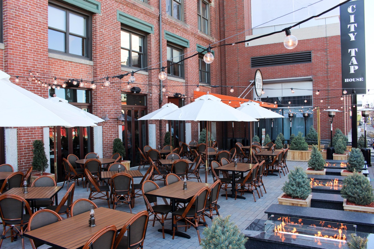 The patio at City Tap House in Fort Point