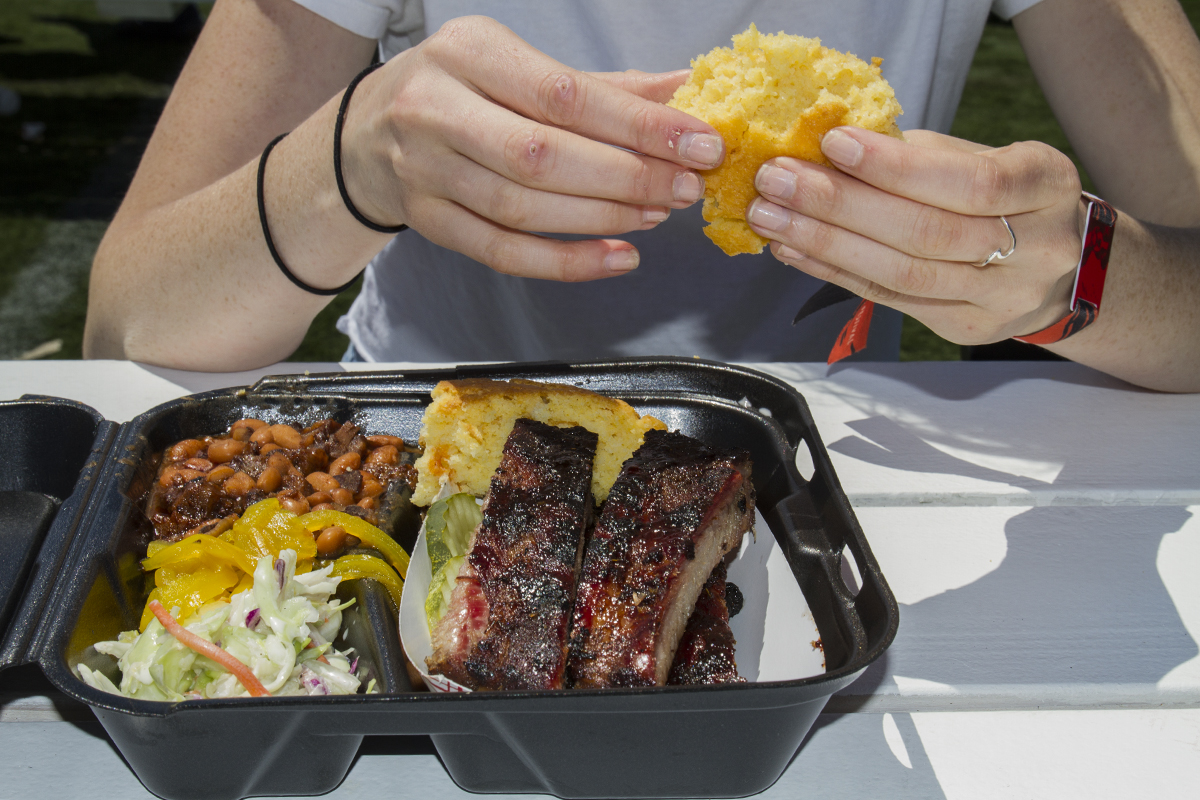 Firefly's ribs, brisket beans, coleslaw, and corn bread