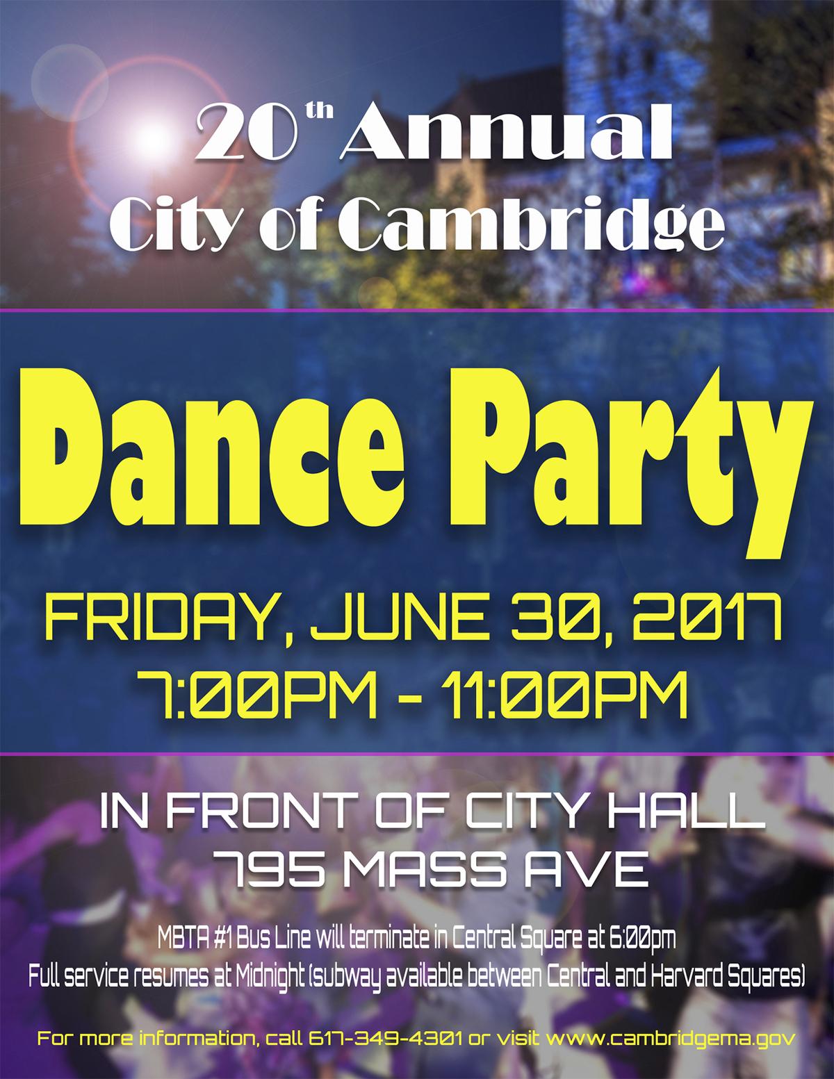 Cambridge dance party flyer