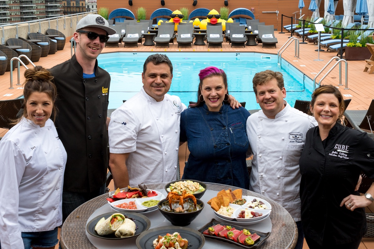 (L to R) Chefs Jen Royle, Matt Drummond, Nick Calias, Karen AKunowicz, Josh Ziskin, and Julie Cutting are making menus for this summer's RoofTop Chefs at the Colonnade Hotel