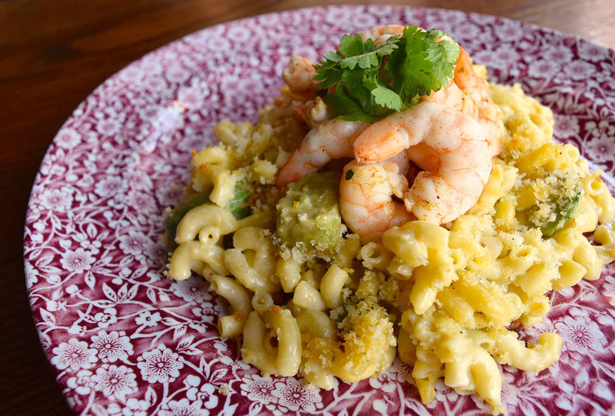 Grilled Lime Shrimp with Chipotle and Avocado Mac and Cheese at Cunard Tavern