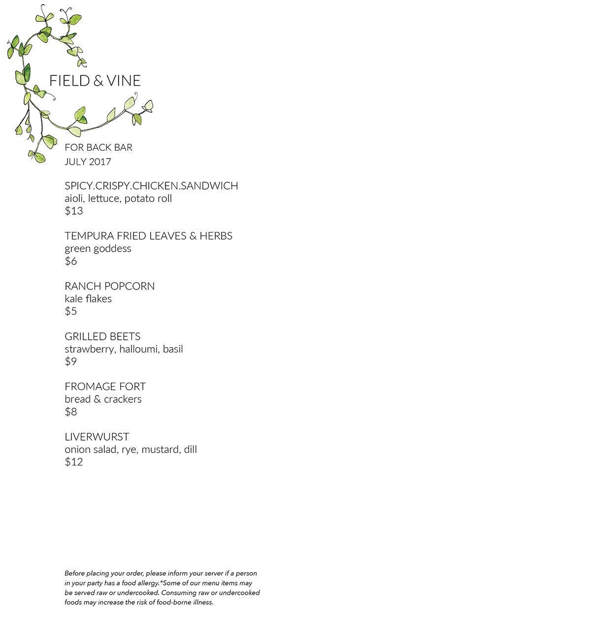 Field & Vine Backbar menu July 2017