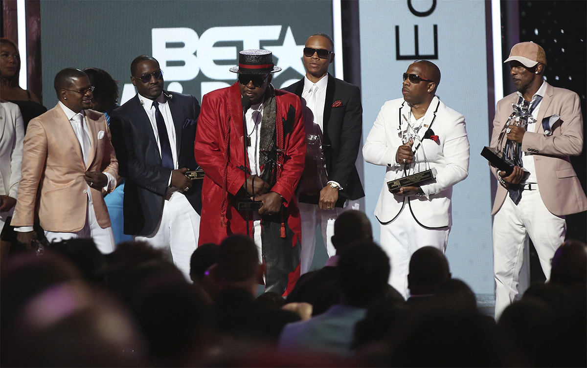 Ricky Bell, Johnny Gill, Bobby Brown, Ronnie DeVoe, Michael Bivins and Ralph Tresvant of New Edition