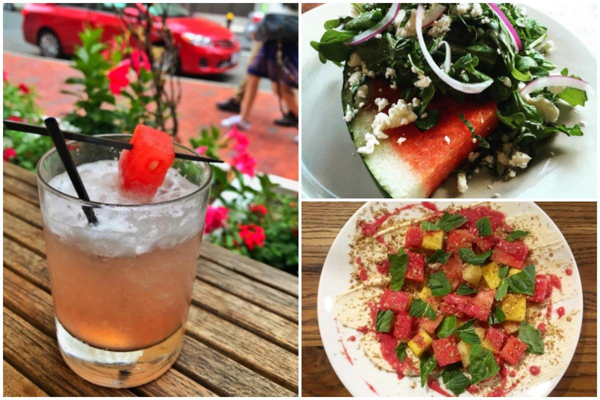 Seasonal watermelon treats (clockwise, from left) at Doretta Taverna, Tupelo, and the Maiden
