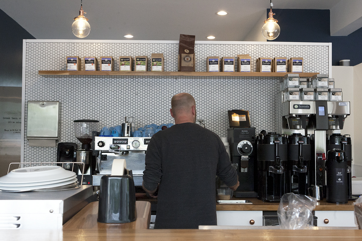 Woody makes an espresso at Noca Provisions