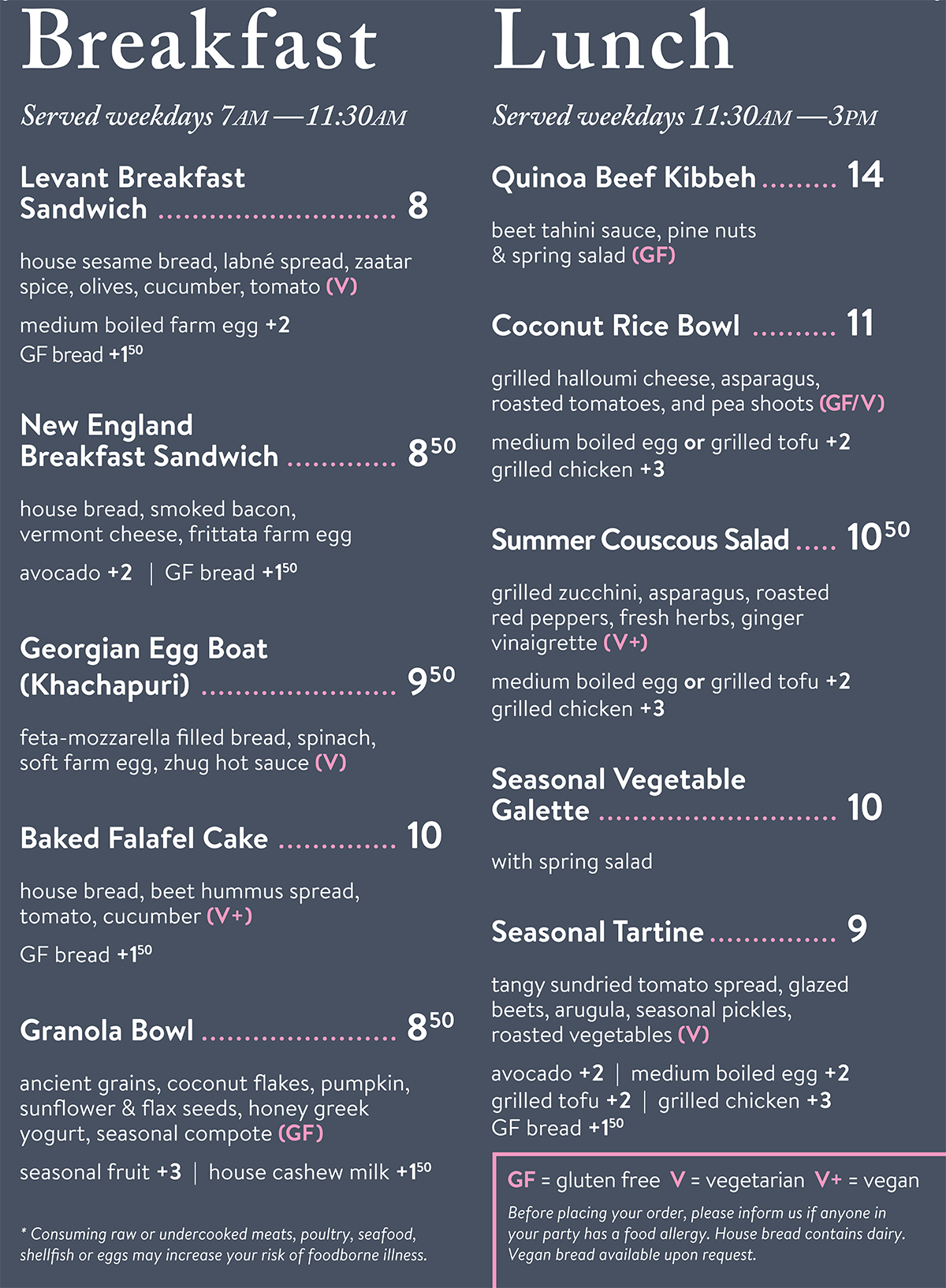 Broadsheet Coffee Roasters Breakfast Lunch menu
