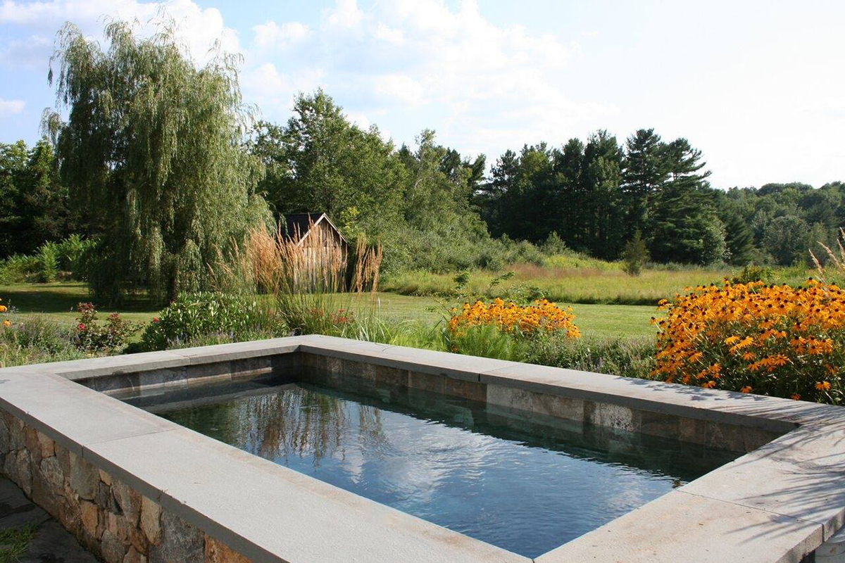 This NH Company Offers a Sleek Alternative to Traditional ... Ideas For Wooded Backyards Pools on ideas for sloped backyards, ideas for sloping backyards, ideas for muddy backyards,