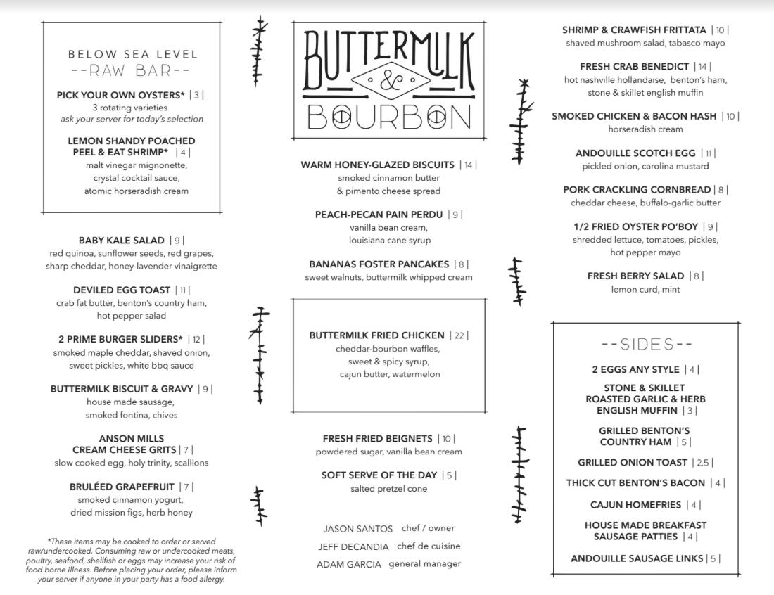 Buttermilk & Bourbon brunch menu