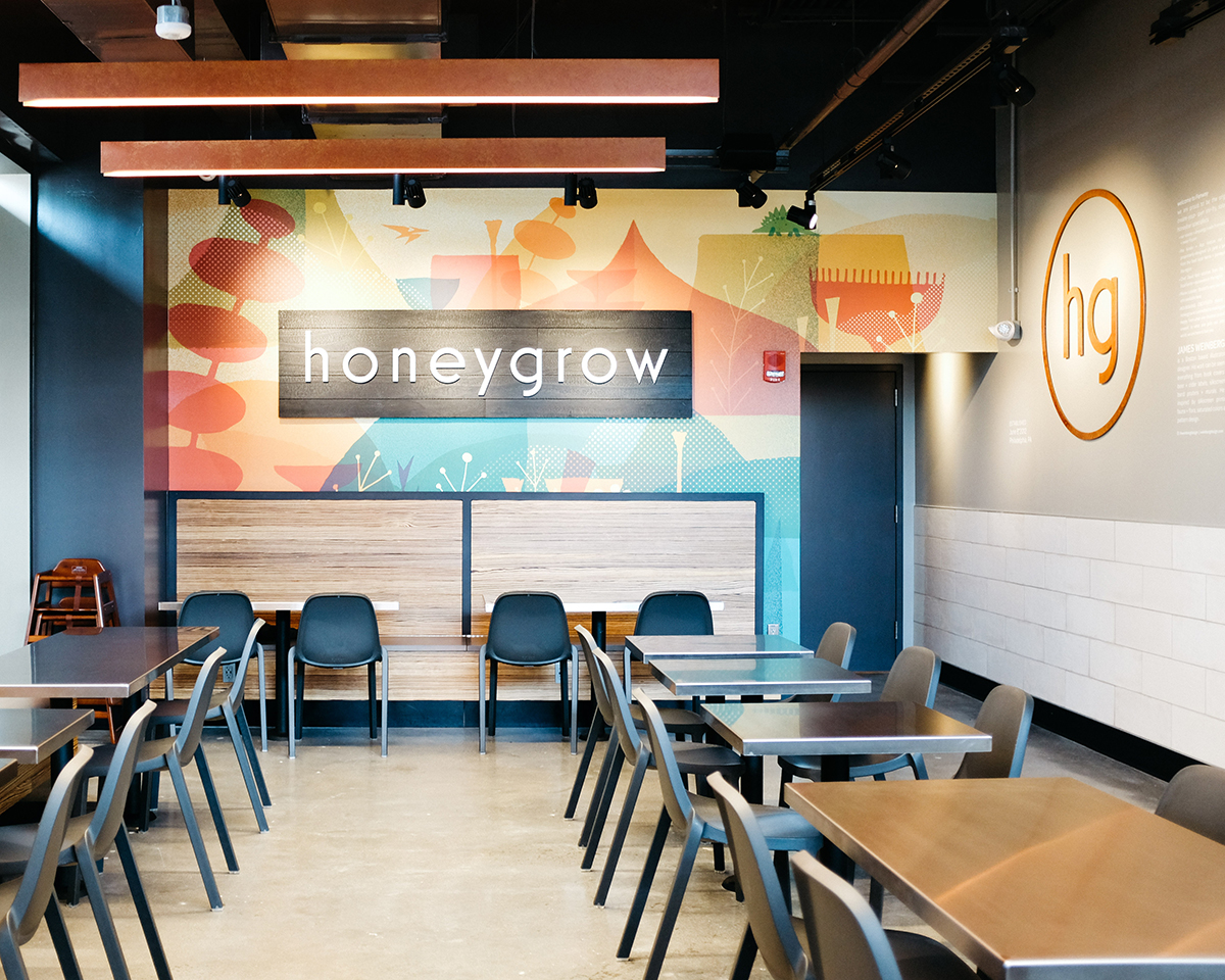 Honeygrow in Fenway features colorful art by Boston illustrator and designer James Weinberg