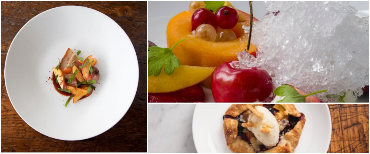 """Stone fruit menu specials clockwise from left: Crostata at Pammy's Cambridge, """"Snow cone"""" at Deuxave, Pork belly at the Table at Season to Taste"""