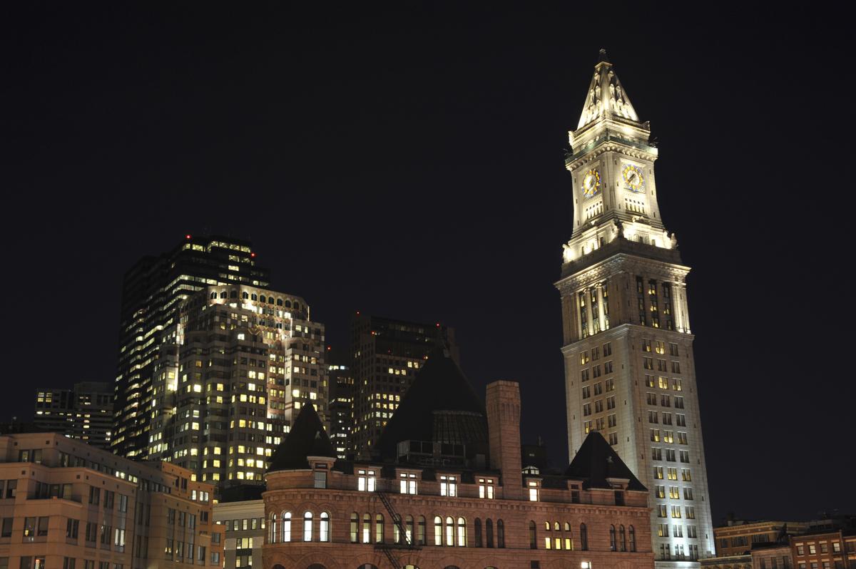 """Old Custom House at night, Boston, Massachusetts"""