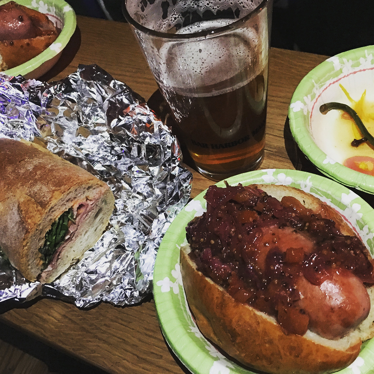 A spread of Kummerspeck fare at a March pop-up at the Dive Bar
