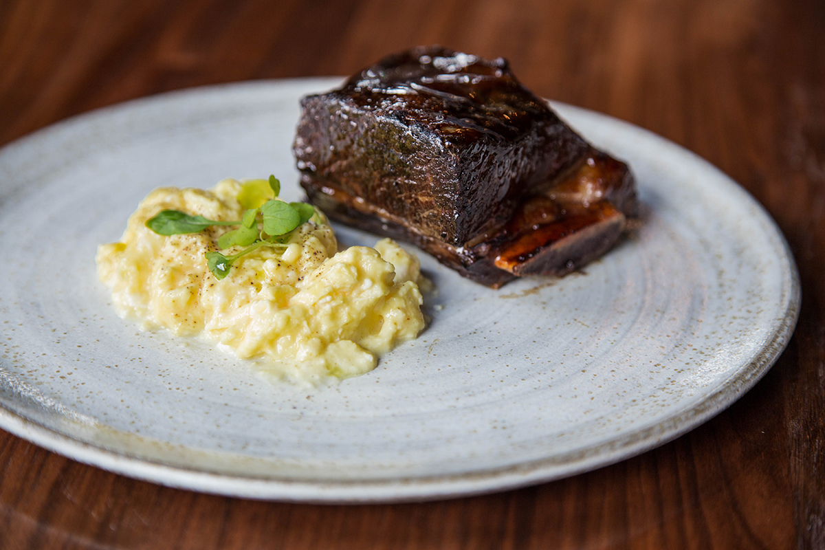 Short rib and eggs at Pagu industry brunch on Mondays