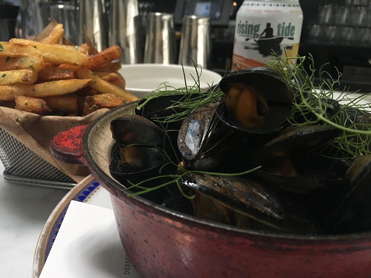 Mussels + frites on the Shepard bar menu